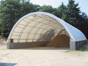 Fabric salt storage building