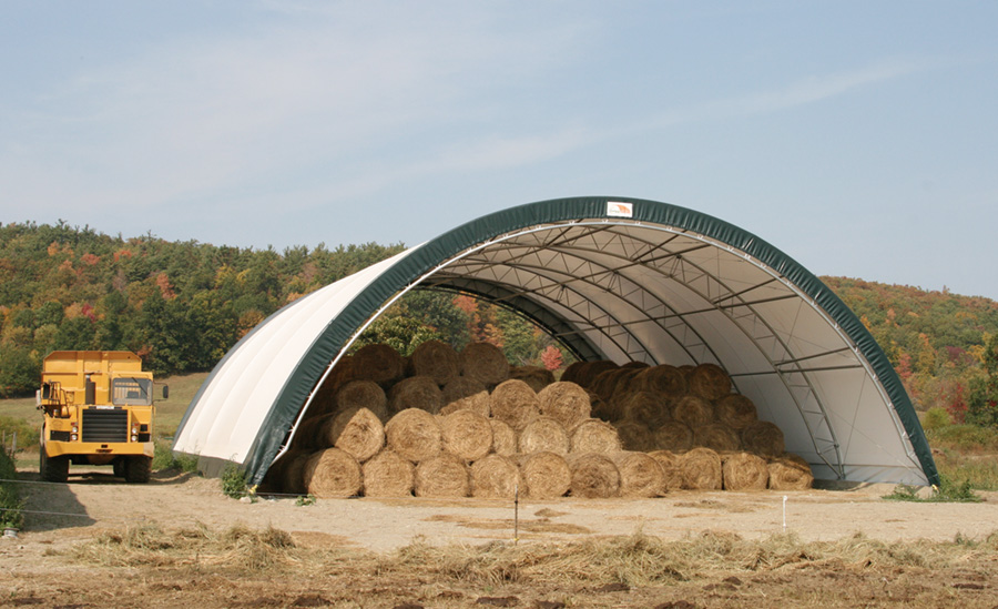 Storing Hay in a ClearSpan Fabric Structure